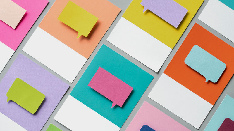 Image of colorful sticky notes that can be used in developing a social media tone of voice guide