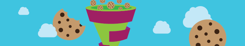 a funnel collecting cookies representing the cookie data collection process